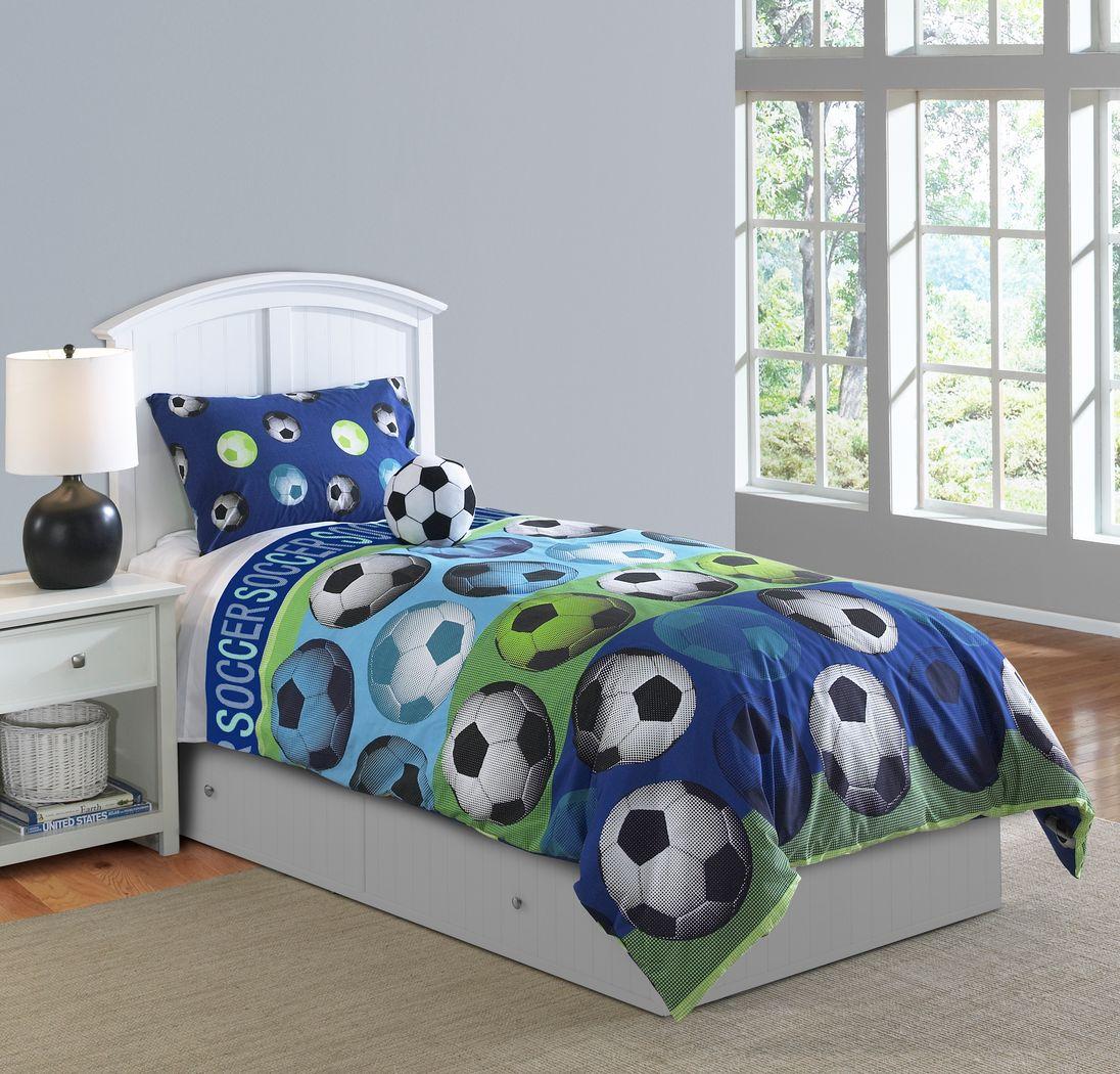 Kids Soccer Dreams Blue 3 Pc Twin Comforter Set