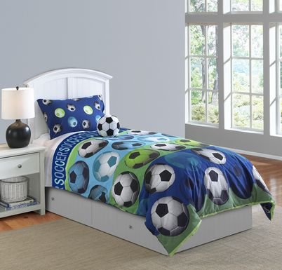 Kids Soccer Dreams Blue 4 Pc Full Comforter Set