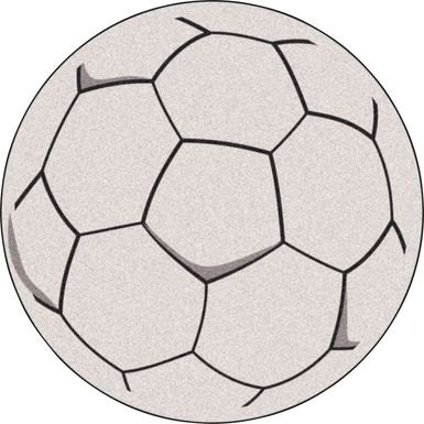 Kids Soccer Fever White 27 in. Round Rug