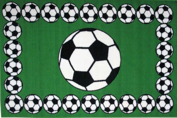 Kids Soccer Gametime Green 3'2 x 4'8 Rug