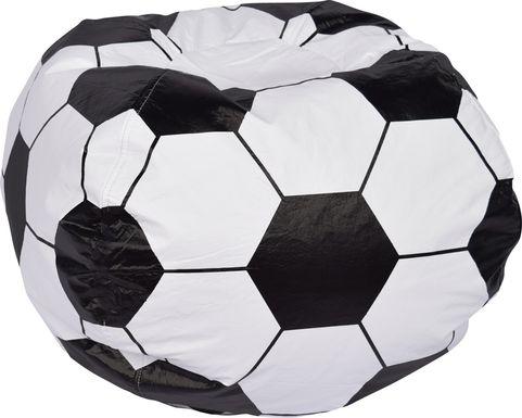 Kids Soccer Seat White Bean Bag