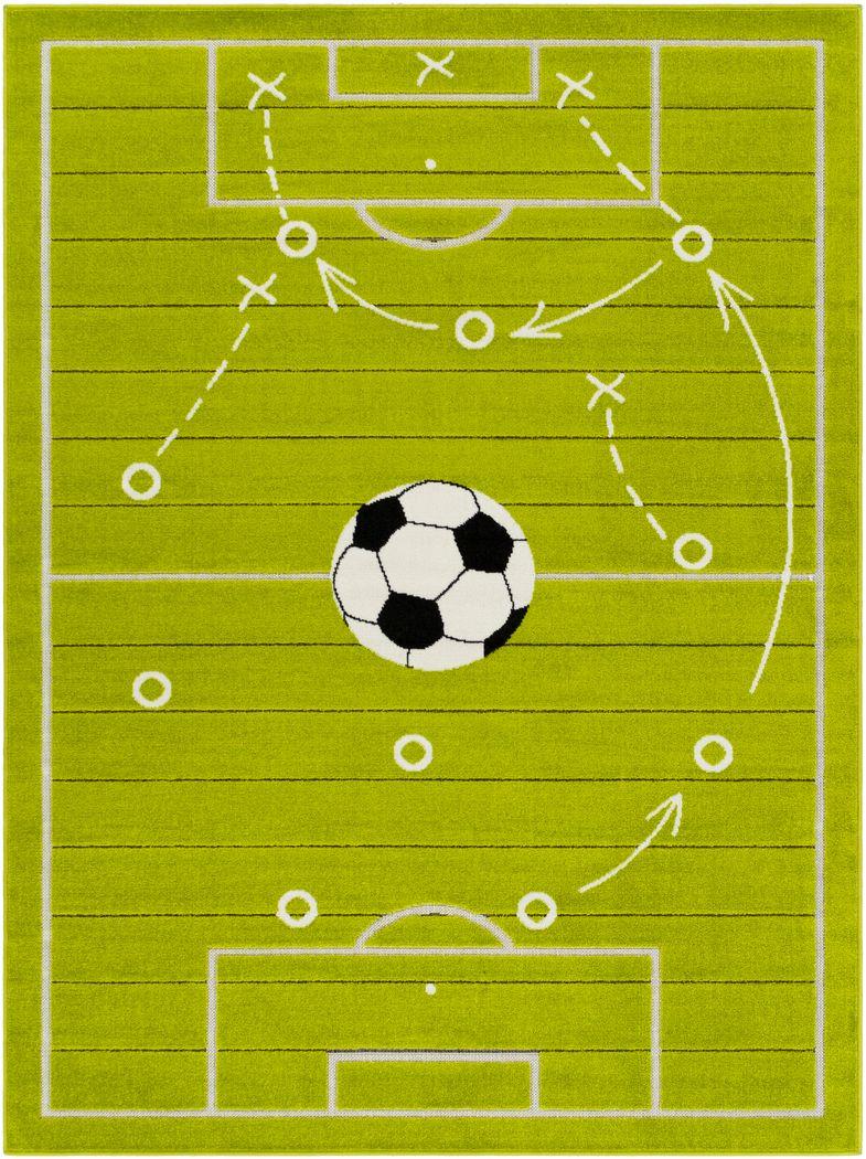 Kids Soccer Tactic Lime 5' x 7' Rug