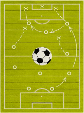 Kids Soccer Tactic Lime 7' x 9'  Rug