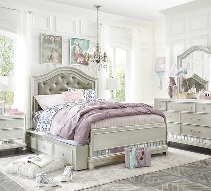 Kids Sofia Vergara Petit Paris Silver 5 Pc Full Panel Bedroom