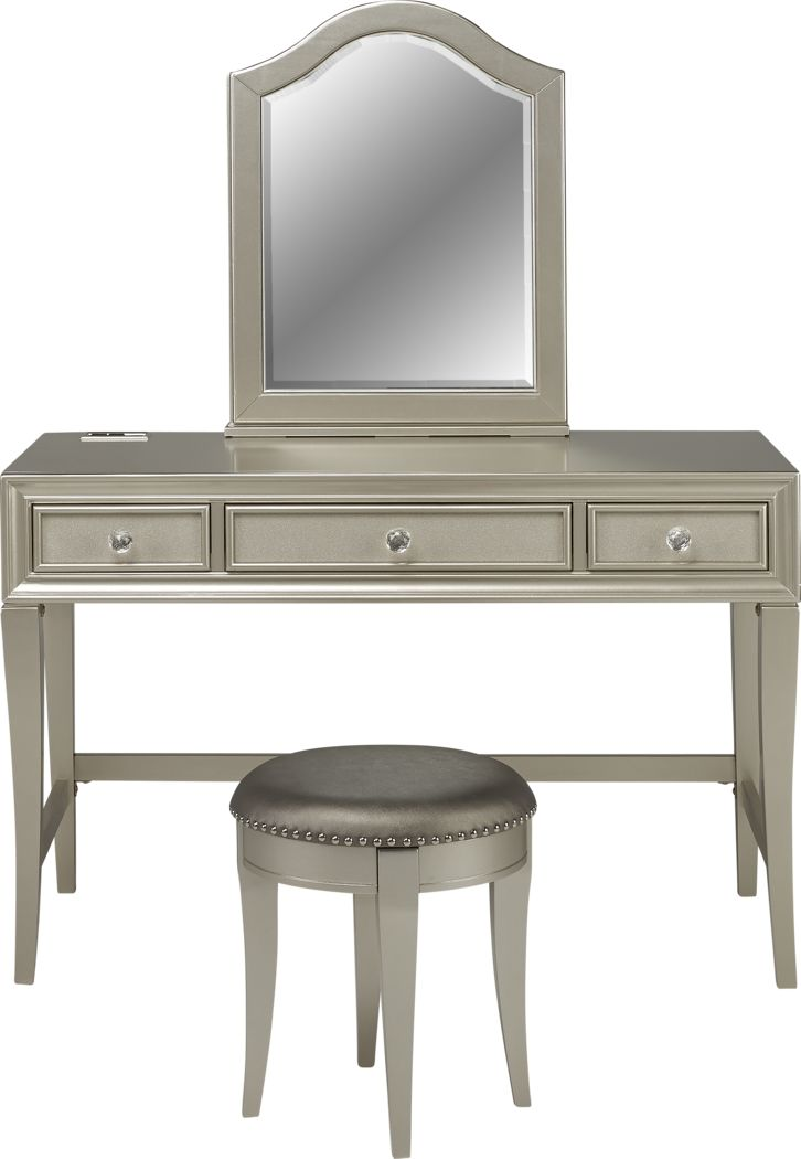Kids Sofia Vergara Petit Paris Silver Vanity, Mirror & Stool Set