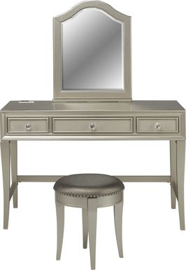 Kids Sofia Vergara Petit Paris Silver Vanity, Mirror & Stool Set