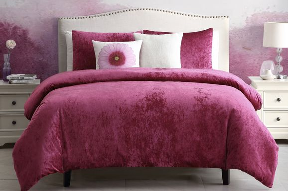 Kids Soft Raspberry Red 4 Pc Twin Comforter Set