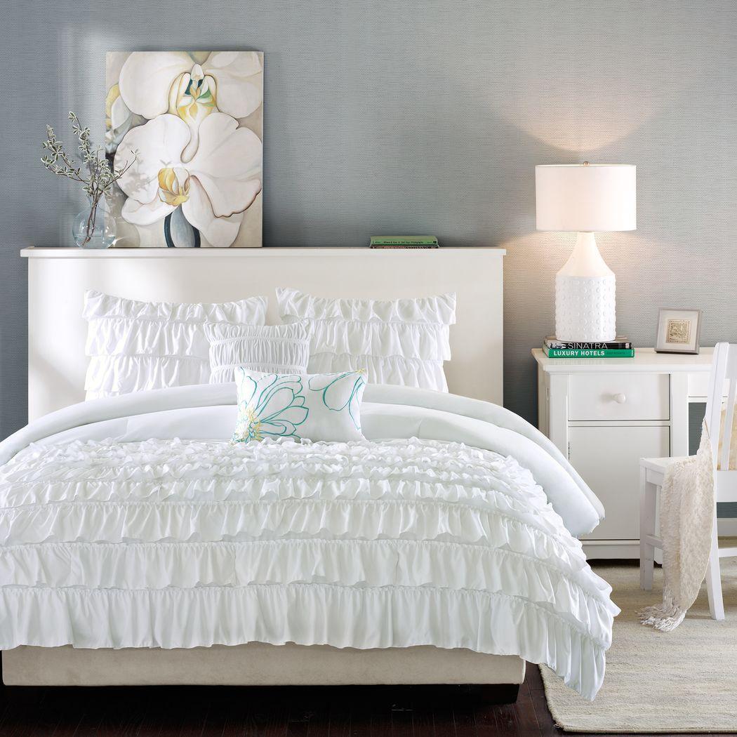 Kids Soft Waterfall White 4 Pc Twin Comforter Set