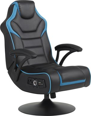 Kids Sound Trek Black/Blue Gaming Swivel Chair
