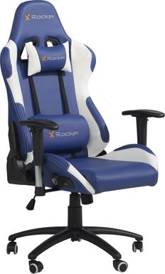 kids sound trek blue white gaming desk chair