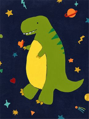 Kids Space Dinos I Green Artwork