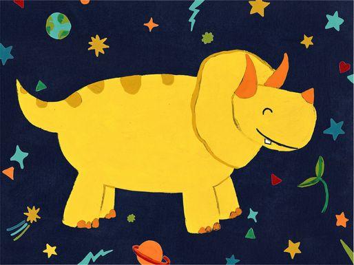 Kids Space Dinos III Yellow Artwork