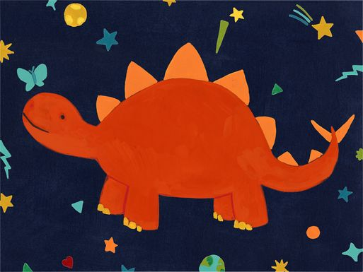 Kids Space Dinos IV Red Artwork