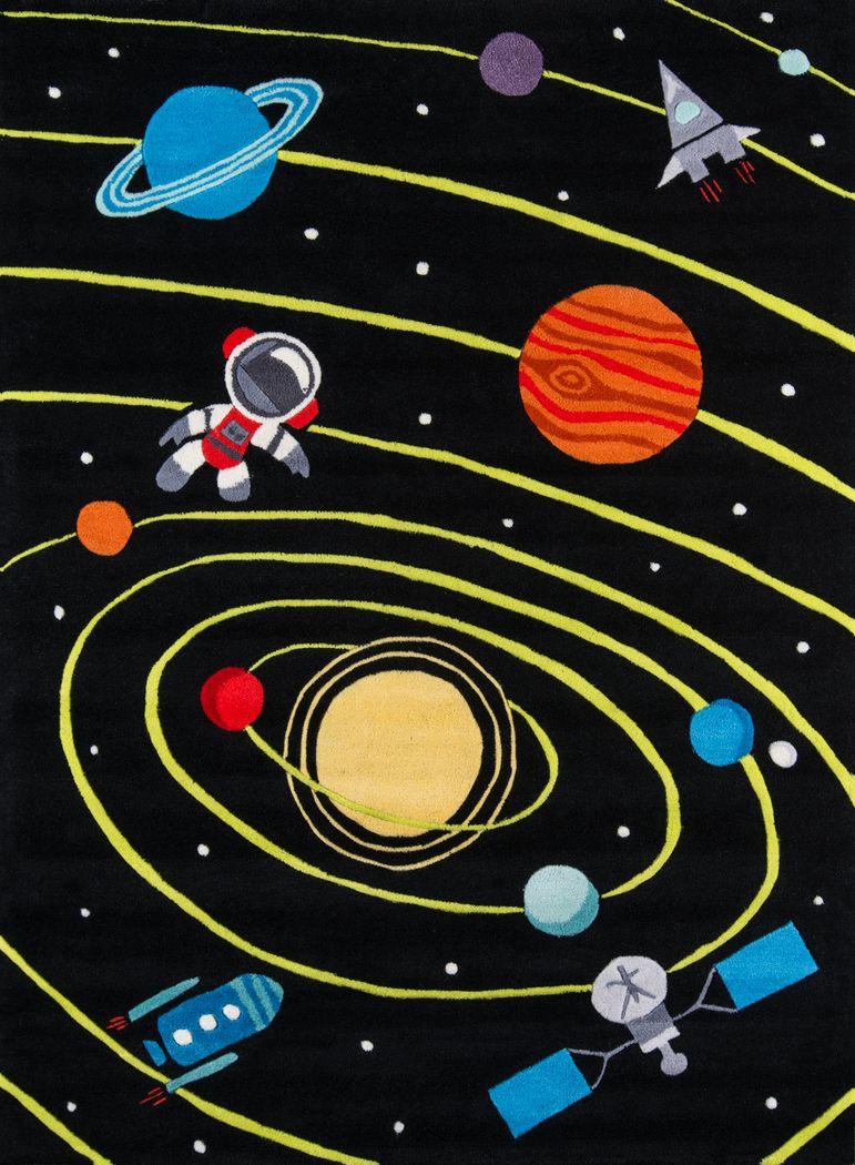 Kids Space Party Black 3' x 5' Rug