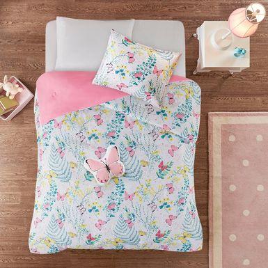 Kids Spring Butterflies Pink 4 Pc Full Comforter Set