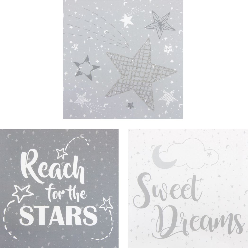 Kids Starry Slumbers Light Gray 3 Pc Artwork
