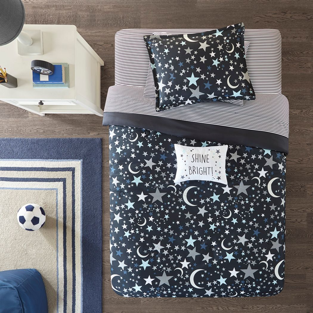 Kids Stars at Night Charcoal 6 Pc Twin Comforter Set
