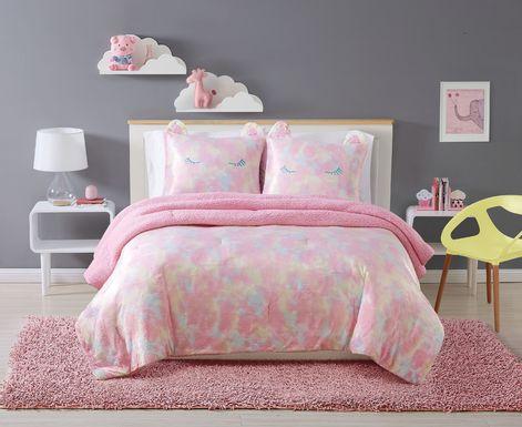 Kids Sweet Rainbow Pink 2 Pc Twin XL Comforter Set