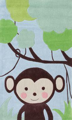 Kids Tree Monkey Blue 2'8 x 4'8 Rug