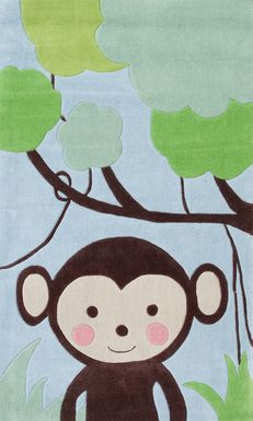 Kids Tree Monkey Blue 4'7 x 7'7 Rug