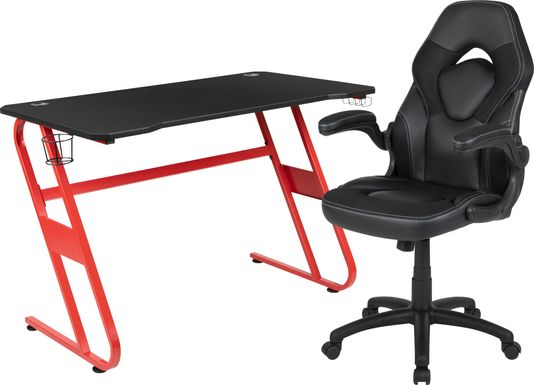 Kids Turole Red/Black Gaming Desk and Chair Set