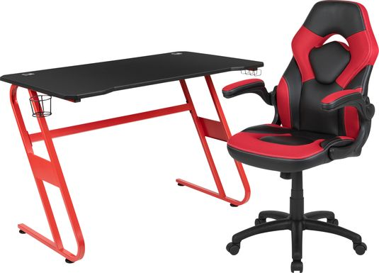 Kids Turole Red Gaming Desk and Chair Set