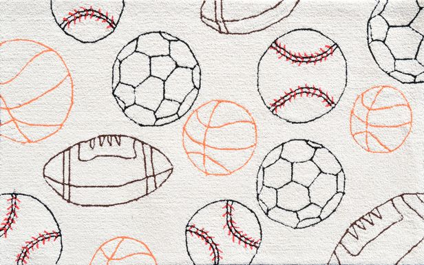 Kids Ultimate Ball Sports Cream 2'8 x 4'8 Rug