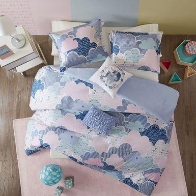 Kids Unicorn Clouds Blue 4 Pc Twin Comforter Set