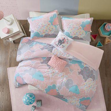 Kids Unicorn Clouds Pink 4 Pc Twin Comforter Set