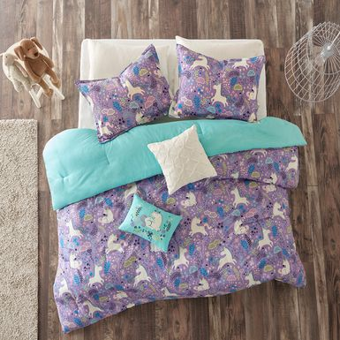 Kids Unicorn Dance Purple 5 Pc Full/Queen Comforter Set