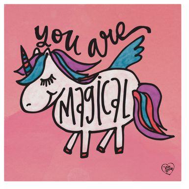 Kids Unicorn Flight Pink Artwork