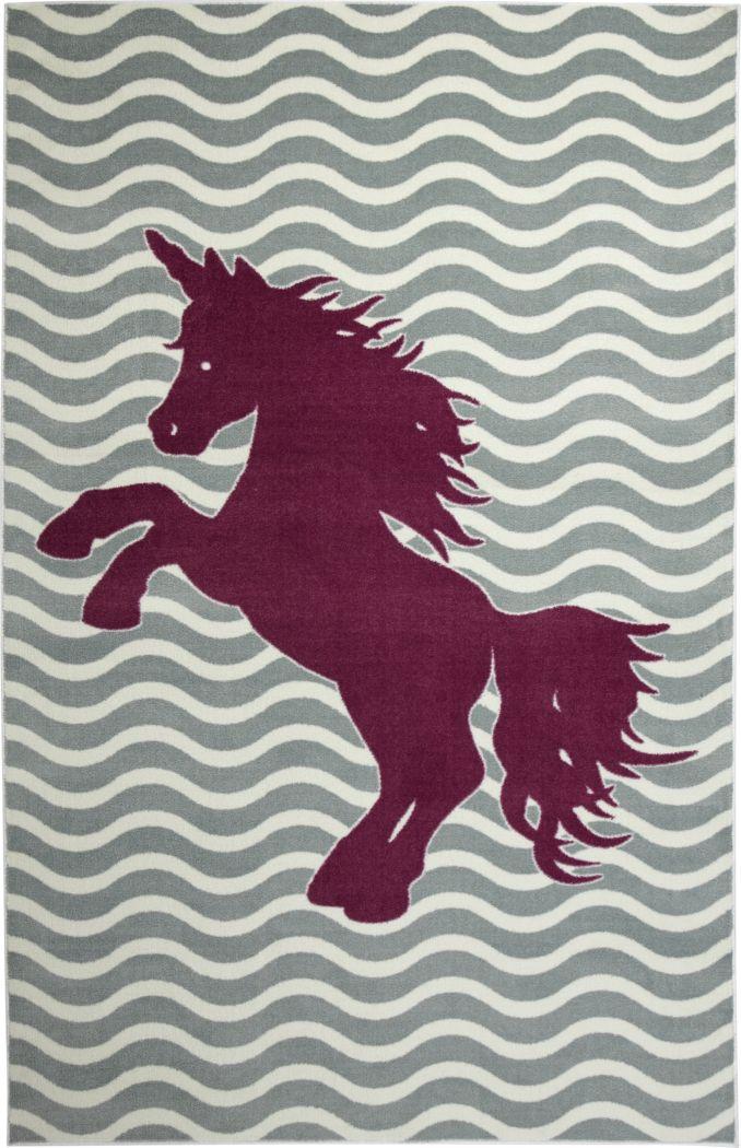 Kids Unicorn Way Gray 5' x 8' Rug