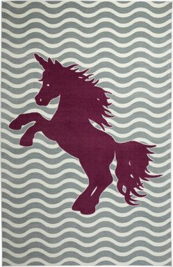 Kids Unicorn Way Gray 5' x 8' Rug