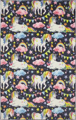 Kids Unicorns and Rainbows Blue 3' x 5' Rug