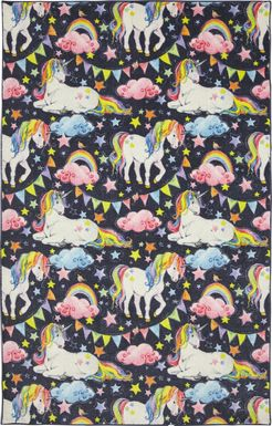Kids Unicorns and Rainbows Blue 3' x 5' Rug