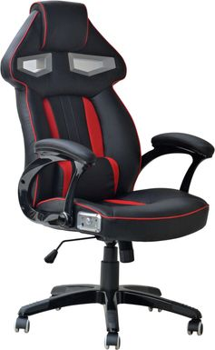 Kids Venture Quest Black/Red Gaming Desk Chair