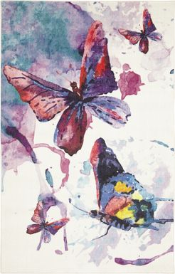 Kids Watercolor Flutter Purple 3' x 5' Rug