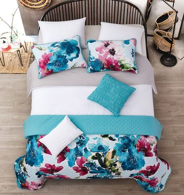 Kids Watercolor Quilt Teal 8 Pc Full/Queen Comforter Set