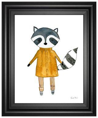 Kids Winter Raccoon White Artwork