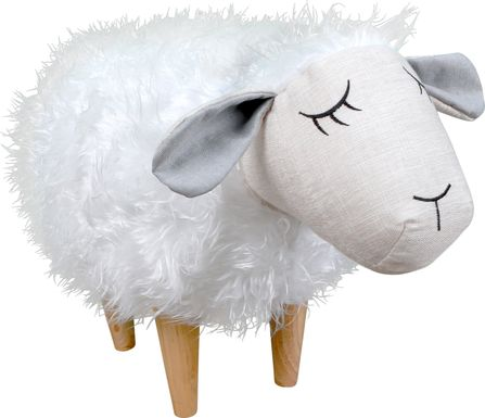 Kids Wooly the Sheep White Ottoman