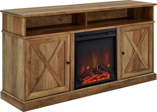 Kilmersdon Brown 60 in. Console, With Electric Fireplace
