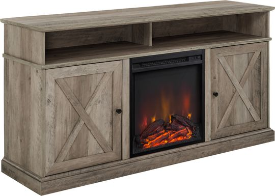 Kilmersdon Gray 60 in. Console, With Electric Fireplace