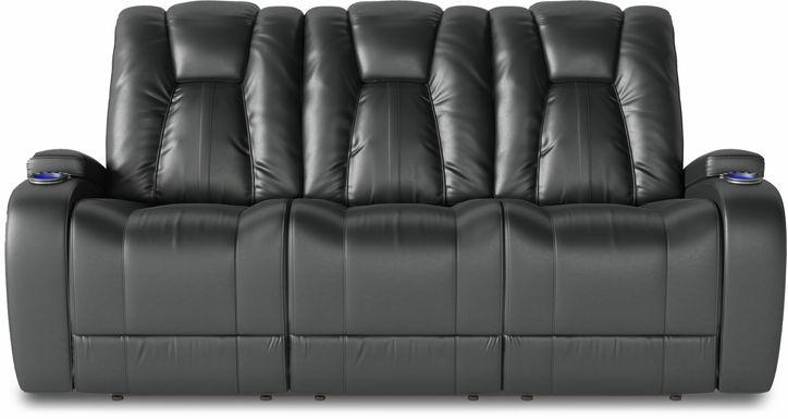 Kingvale Court Black Dual Power Reclining Sofa