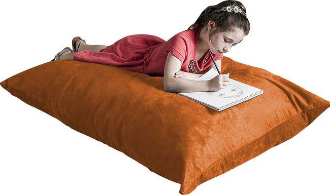 Kids Kiri Orange Small Bean Bag Chair and Floor Pillow