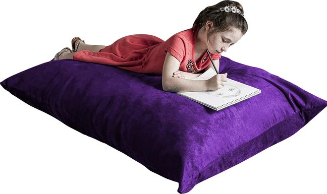 Kids Kiri Purple Small Bean Bag Chair and Floor Pillow