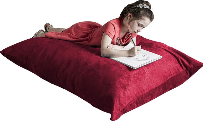 Kids Kiri Red Small Bean Bag Chair and Floor Pillow