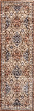 Kirman Cream 2'3 x 7'6 Runner Rug