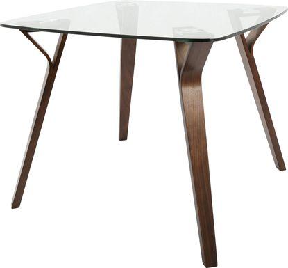Krameria Walnut Glass Top Dining Table