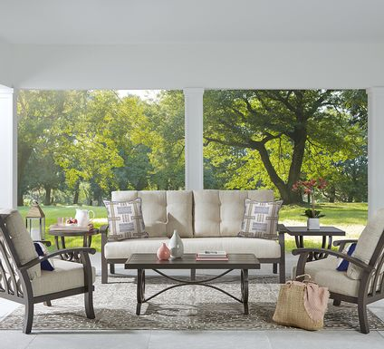 Lake Breeze Aged Bronze 4 Pc Outdoor Seating Set with Wren Cushions