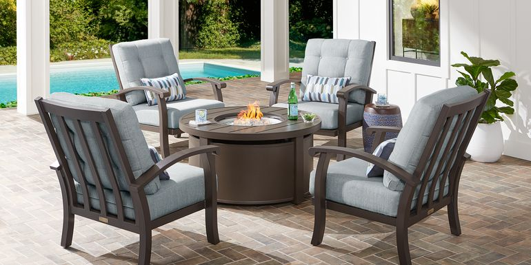 Lake Breeze Aged Bronze 5 Pc Fire Pit Set with Mist Cushions